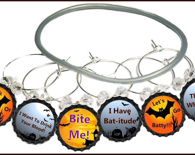 Halloween Wine Charms - The Bat Whisperer 8/Pack