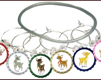 Santa's Reindeer Wine Charms - Pack Of 9