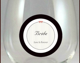 Bride and Groom Glass Decals - Glass Not included - 2/pack