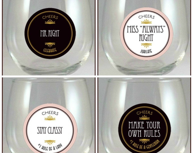 Mr. and Miss Wine Glass Charms, Mr. and Miss Glass Tags, Glass Labels, Mr. and Miss Glass Decals - 4 pack, Glass Not included