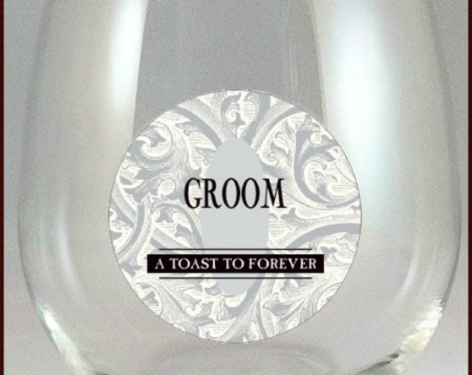 Bride and Groom Glass Decals - Glass Not included, 2 pack