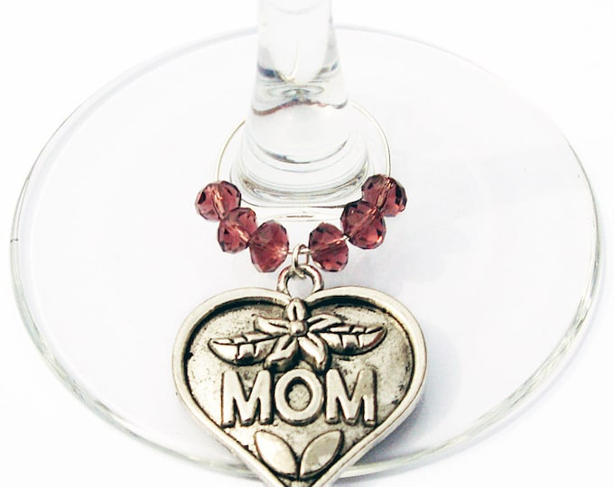 Valentine's Day or Mother's Day Wine Charm Gift For Mom - Choose your bead color, sold individually