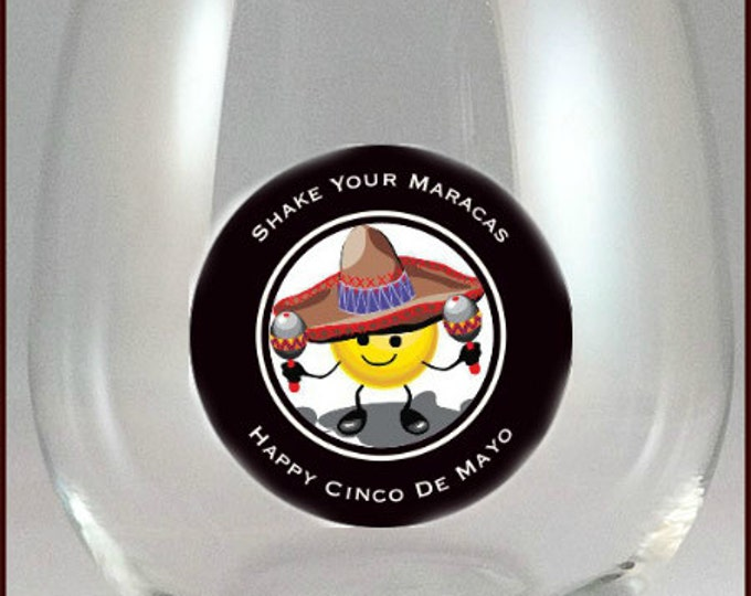 Cinco De Mayo Wine Glass Decals - 2 Inch Round - Reusable - Pack Of 6 - Glass Not Included