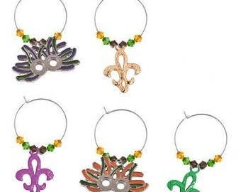 Mardi Gras Wine Charms - Mardi Gras Gifts - Mardi Gras Party Favors -  Mardi Gras Decorations - Mardi Gras Glass Tags - Glass Markers