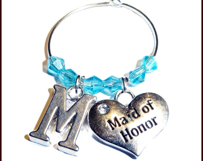 Wedding Wine Charm Personalized Gift Favors For Wedding Party - Initial & Bridal Party Position
