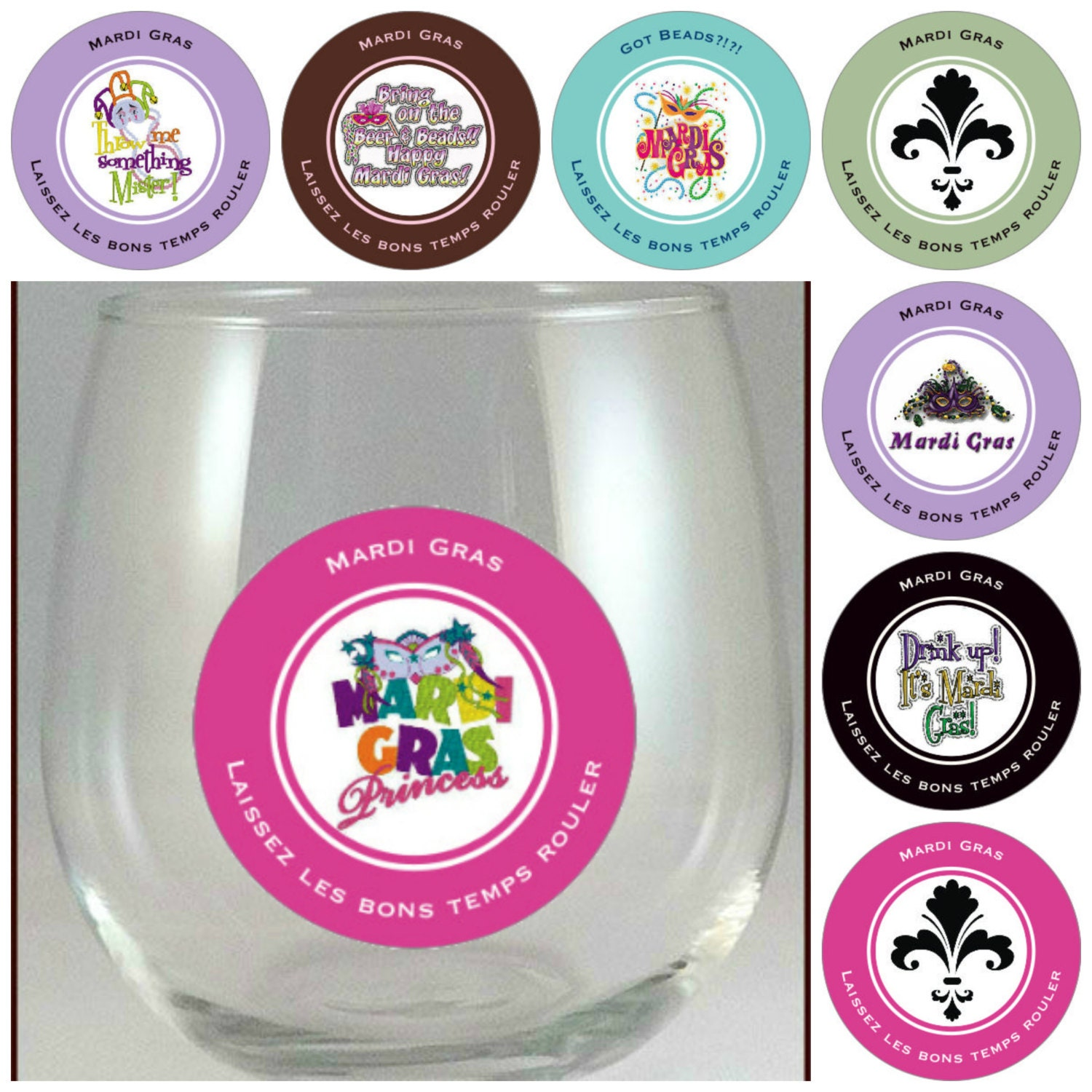 Mardi Gras Glass Decals - Mardi Gras Party Favors - Glass Not ...