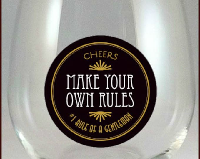 Wine Glass Decals - Rules for the Lady & Gentleman, 2 pack - Glass Not included