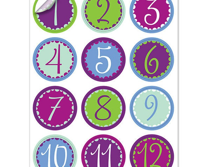 Whimsy Number Wine Glass Decals, 1 Inch Round - Reusable - Hostess Gift, Glass Not included, 12 Per Pack