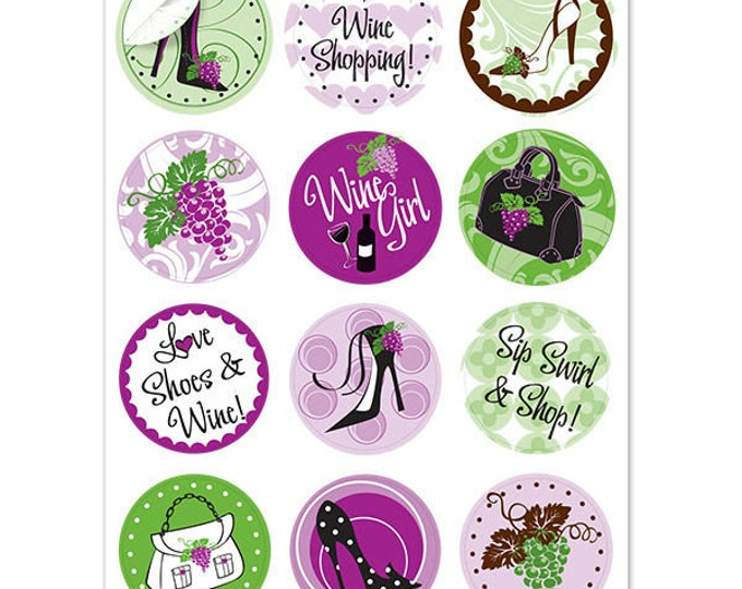 Wine Boutique Wine Glass Decals For The Savvy Shopper, 1 Inch Round Glass Tags, Glass Charms, Hostess Gift, Glass Not included, 12 Per Pack