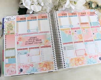 Items similar to ECLP planner stickers Vintage flowers, pink and black, mint green, vertical stripes