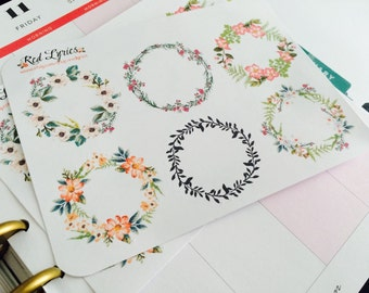 Floral Wreath Planner Stickers