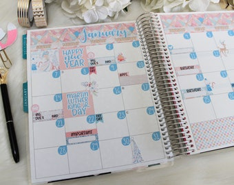 JANUARY Monthly Kit, Planner Stickers, ECLP