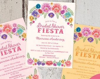 mexican fiesta spanish style diy printable digital pdf jpeg file spring summer floral bridal shower invitations free custom colors