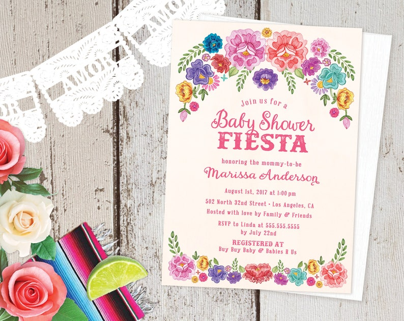 Mexican Fiesta Theme Baby Shower Invitations Spanish Floral Etsy