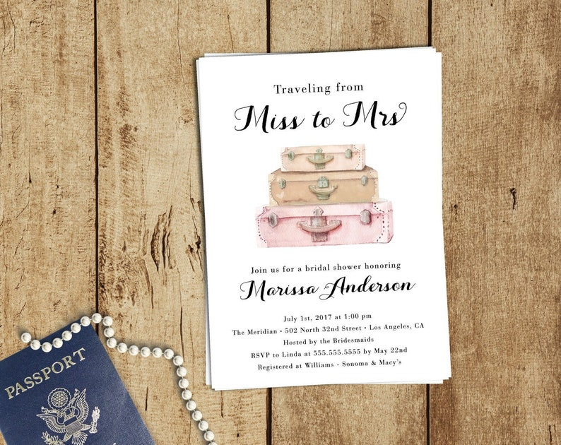 a7e49e4f9727 Travel Bridal Shower Invitation Boho Traveling from Miss to
