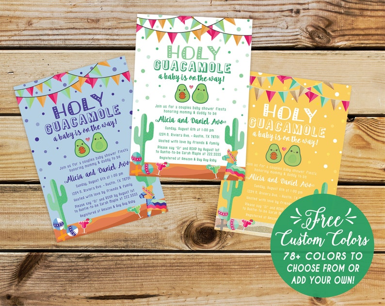 Avocado Fiesta Theme Baby Shower Invitation Mexican Cactus Couples Holy Guacamole Girl Or Boy Spanish Free Custom Colors Printed Invite
