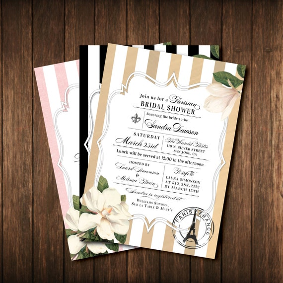 French bridal shower invitations paris france black etsy image 0 filmwisefo