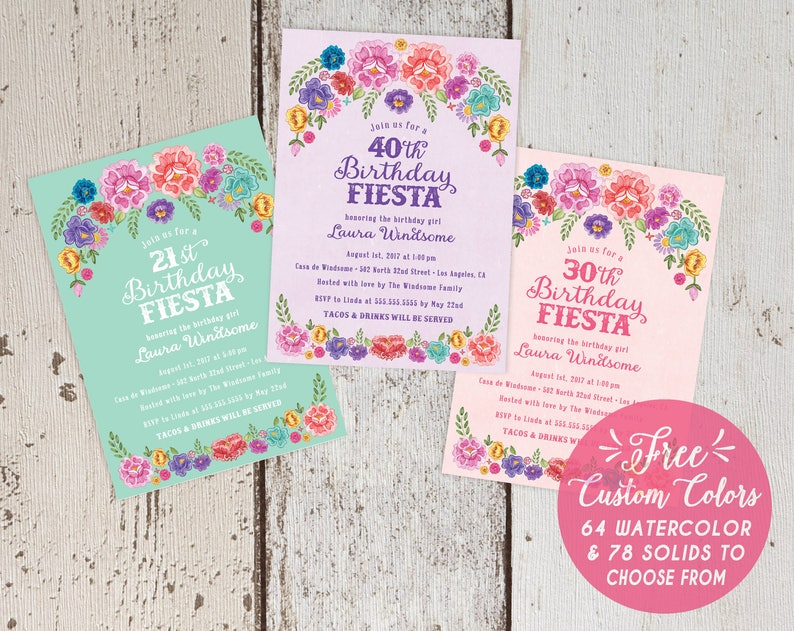 Mexican Fiesta Theme Floral Birthday Party Invitations