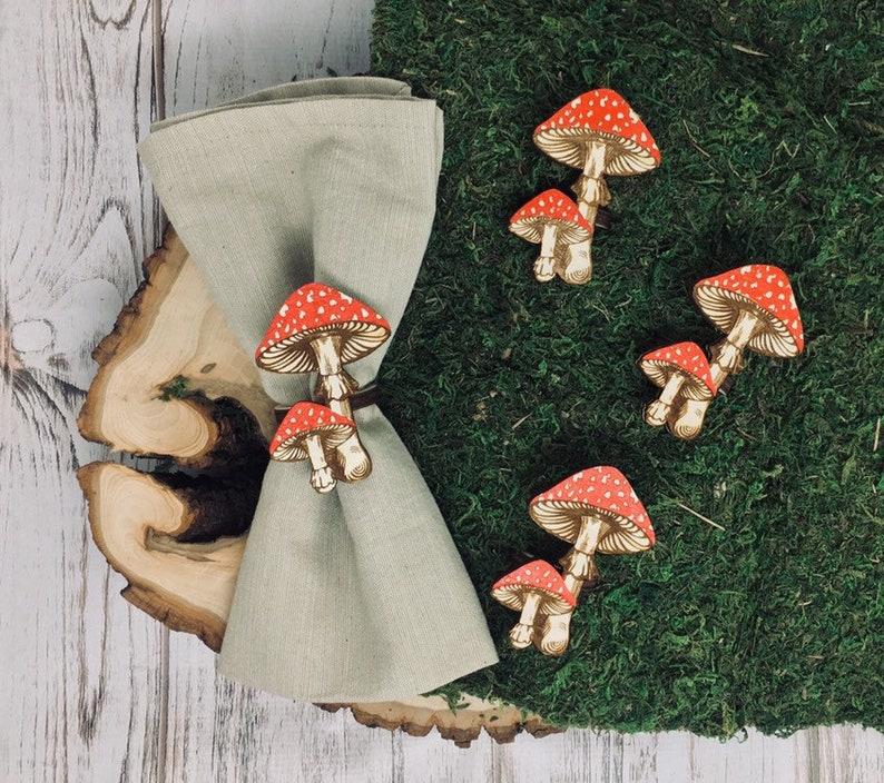 Mushroom Napkin Ring Set of 4  Lasercut Red Cap Amanita Muscaria  Woodland Table Decor  Farmhouse Table Decorations Fairy Elf Tea Party