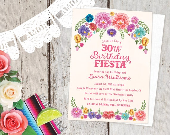 Mexican Fiesta Theme Floral 30th Birthday Party Invitations