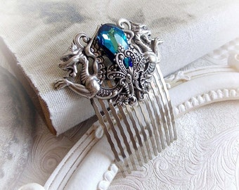 Medieval ocean blue hair comb fantasy Swarovski crystal comb renaissance silver accessories fantasy hair accessories blue dragon hair fork