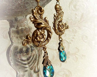 Ocean blue Swarovski earrings aged brass blue Swarovski crystal earrings teardrop bridal earrings victorian dangling antiqued brass earrings