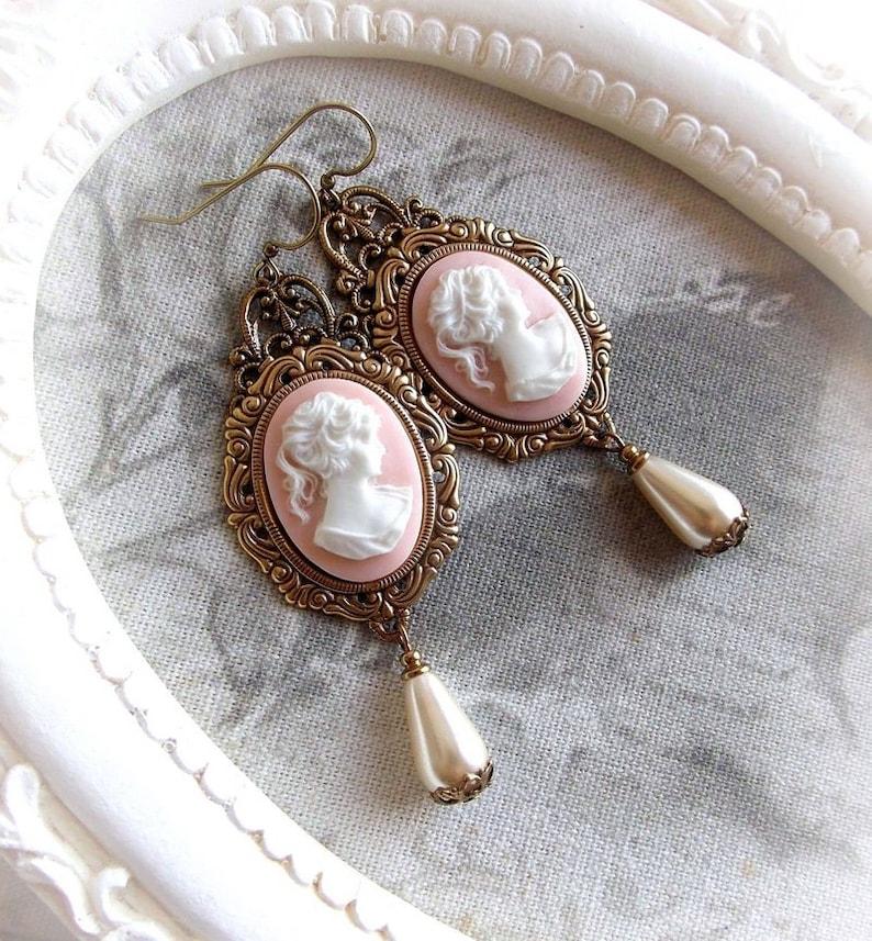 Light rose cameo earrings romantic creamy vintage earrings image 0