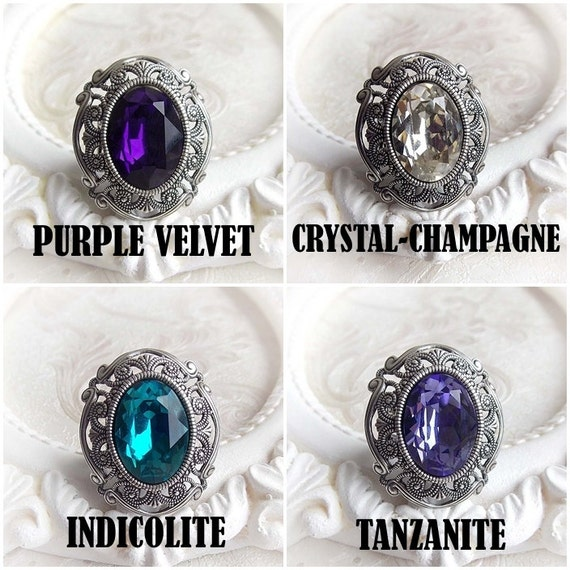 23b3e566f4ee Gothic medieval Swarovski crystal ring - MORE CHOICES - gothic victorian  ring statement renaissance ring cocktail crystal engagement ring