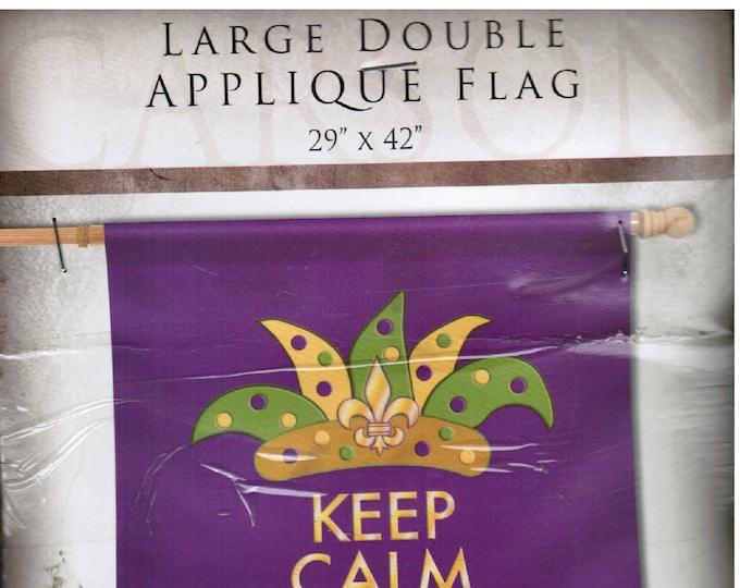 "Large Double Applique Flag, Mardi Gras Flag,  29"" x 42"" Christmas"