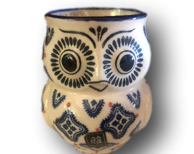 Vintage Studio Mug | Yokohama Studio | Hand Painted  Mug | Embossed Blue White Owls Mug | Owl Mug
