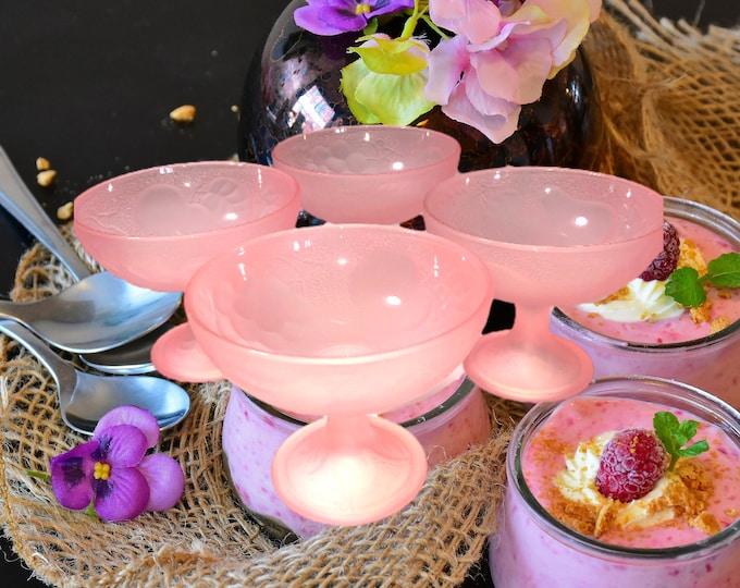 Bowl Set of 4 | Frosted Pink Pressed Glass Goblets | Footed Dessert Bowls | Embossed Fruit Pattern Goblets