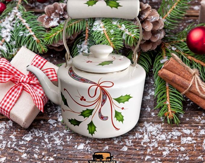 Large Lenox Tea Kettle | Holiday Nouveau Tea Kettle | Holly Berry Tea Kettle