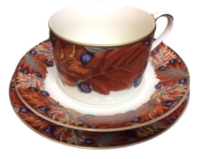 Mikasa China Trio Cup Saucer Plate Set Fall Leaves Berries