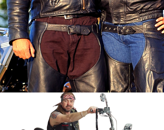 Mens Leather Chaps | Biker Chaps | Motorcycle Chaps | Genuine Leather Chaps | Unisex Motorcycle Chaps | FMC Heavy Leather Chaps