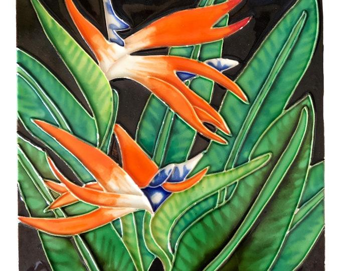 Tropical Ceramic Art Tile   8 Inch Hand Painted Ceramic Tile   Bird of Paradise Wall Tile   Fine Art Decorative Tile