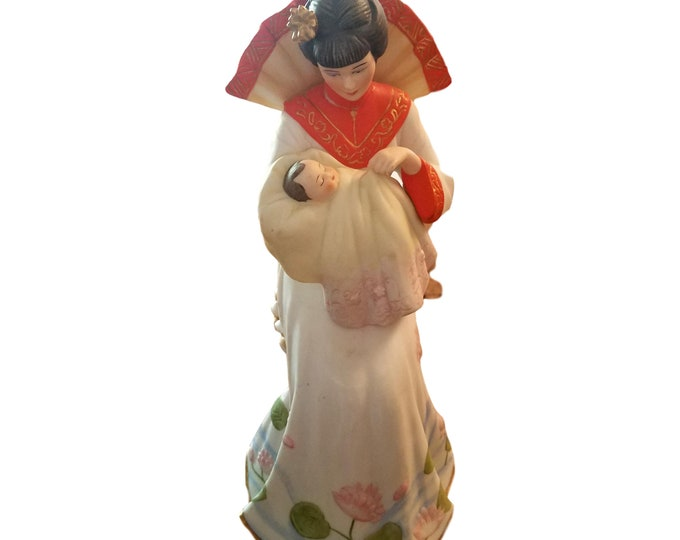 Japanese Mother & Baby Figurine Hand Painted Bisque Statue