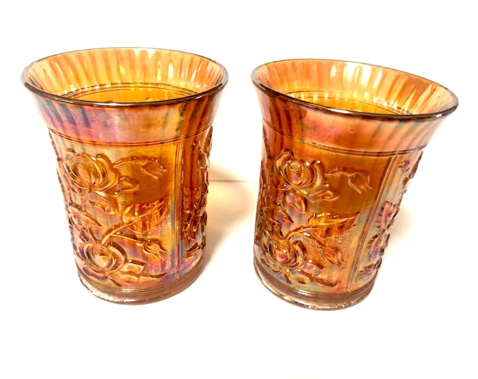 Vintage Carnival Glass Tumblers | Marigold Rose Tumblers | Carnival Glass Marigold Lustre Roses Tumbler, Set of 2