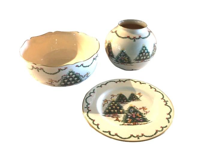 Lenox Joy Of Christmas Trio Set | Holiday Decor | Plate, Bowl, Globe Shaped Vase