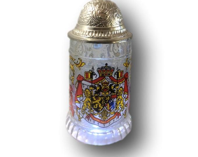 Etched Vintage Glass Beer Stein   Coat of Arms Mug   United We Stand Mug    W Germany Mug