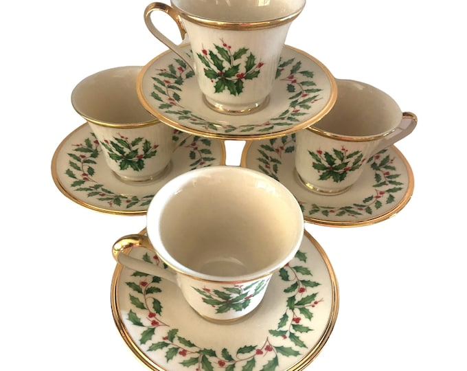 Lenox China| Dimension Collection |  Coffee Cup and Saucer | Christmas Footed Coffee Cup Set of 4