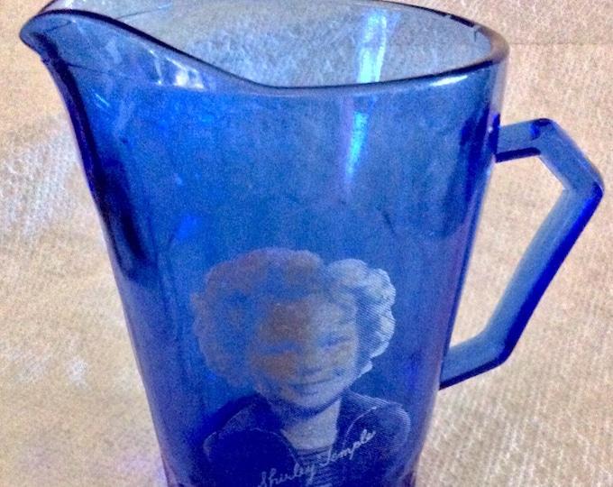 Cream Pitcher Shirley Temple Vintage Cobalt Blue Glass