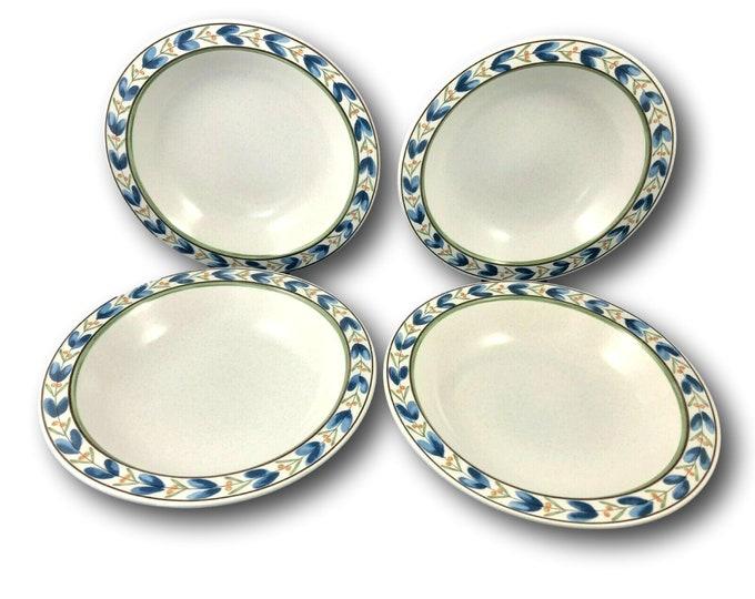 Set of 4 Vintage Rim Soup Bowls, Vintage Soup Bowls, Mikasa, Potter's Touch, Blue Fleur, CB014