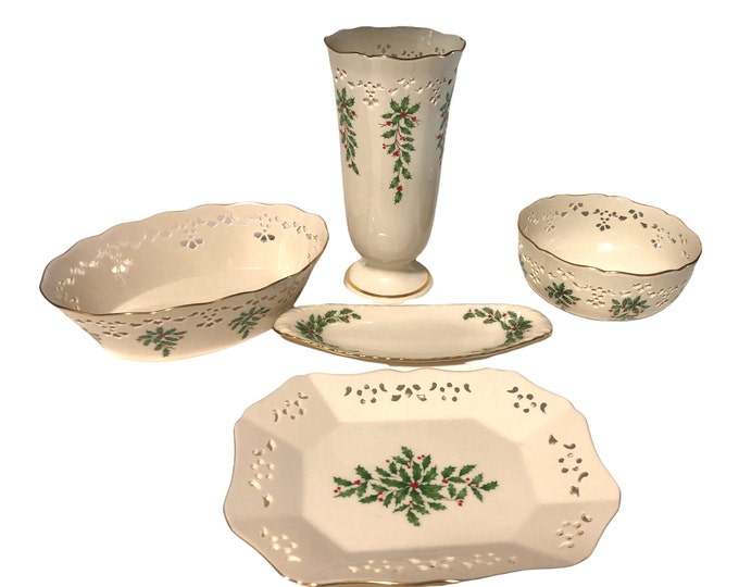 Lenox Christmas China | Set of 5 Lenox Dimensions Accent Pieces | Holly Berries Lenox