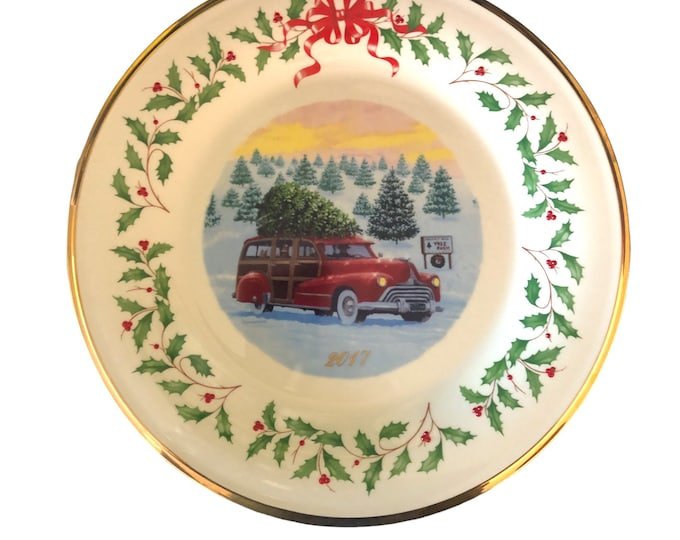 Lenox Annual Holiday Collector Plate | Plate 27 | Red Car At Tree Farm
