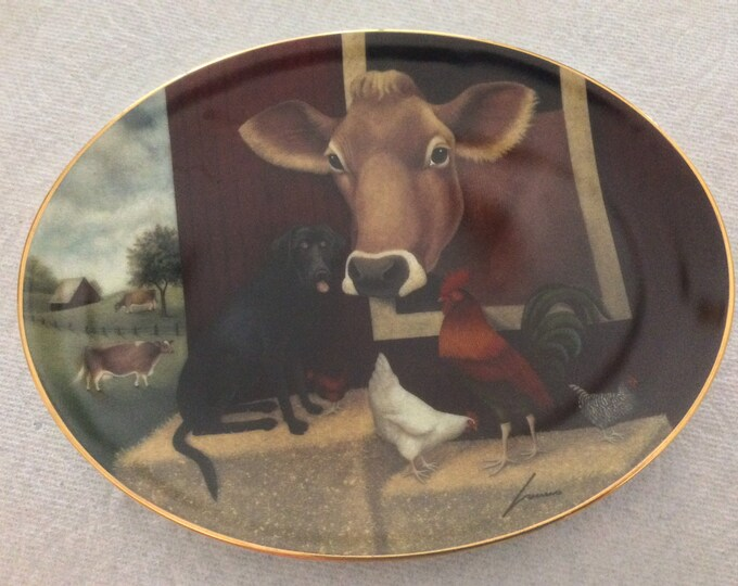 Lowell Herrero Oval Plate Down On The Farm