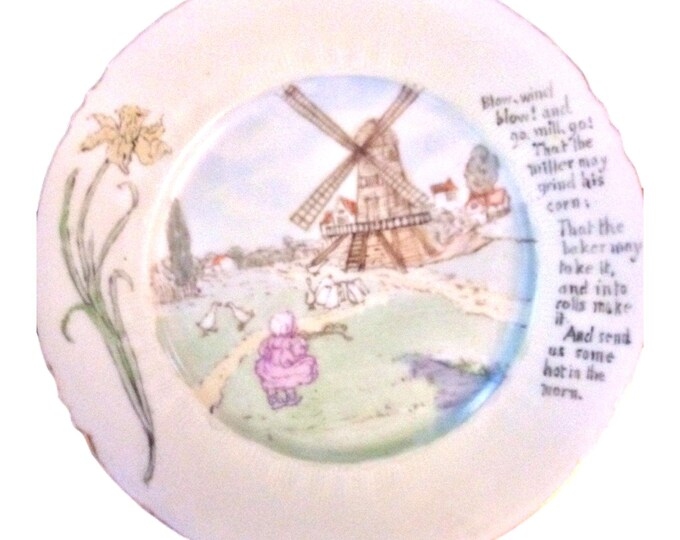 Vintage Limoges | Hand Painted | Dutch Windmill Dish