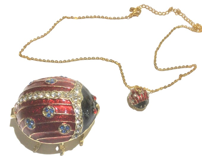 Bejeweled Lady Bug Trinket Box & Pendant Necklace Jewelry