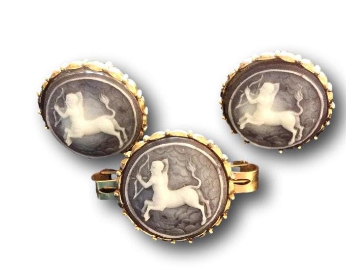 Gifts Under 50 | Vintage Cufflinks | Tie Clip Set | Centaurs | Half Man Half Horse