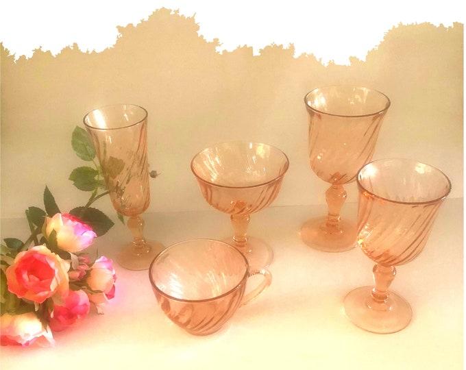 Pink Swirl Rosaline Cristal D'Arques-Durand Goblets