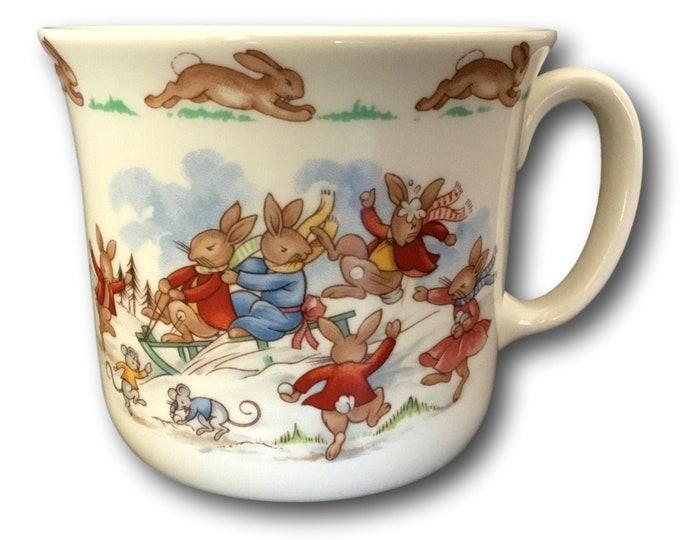 Bunnykins Mug | Royal Doulton Child's Cup | English Bone China Mug | Baby Cup | Baby Gift | Winter Fun Sledding